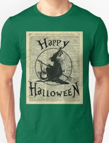 Happy Halloween Witch With Broom Dictionary Artwork T-Shirt