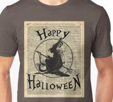 Happy Halloween Witch With Broom Dictionary Artwork Unisex T-Shirt