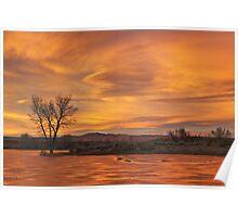 Frozen Pond Sunset Poster