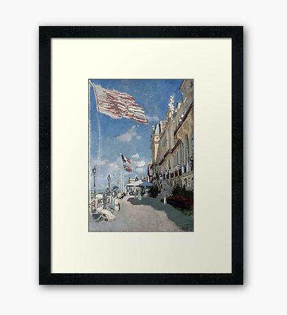 Hotel des roches noires - Trouville - Claude Monet - 1870 Framed Print