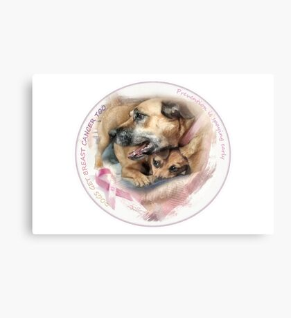 Breast Cancer Awareness-( In Dogs ) sticker Canvas Print