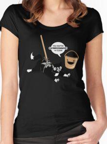 Cat Broom Mop   Geek Retro Gamer Women's Fitted Scoop T-Shirt