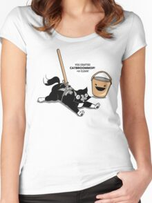 Cat Broom Mop | Geek Retro Gamer Women's Fitted Scoop T-Shirt