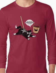 Cat Broom Mop | Geek Retro Gamer Long Sleeve T-Shirt