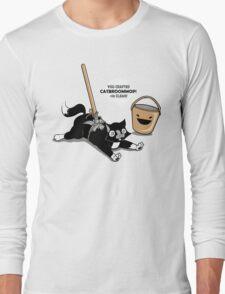 Cat Broom Mop   Geek Retro Gamer Long Sleeve T-Shirt