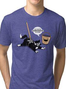 Cat Broom Mop   Geek Retro Gamer Tri-blend T-Shirt
