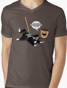 Cat Broom Mop | Geek Retro Gamer Mens V-Neck T-Shirt