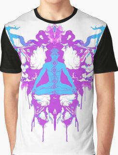 Tranquilly Serene - Purple/White/Teal Graphic T-Shirt