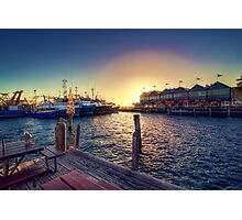 Sun setting over the Fremantle Fishing Boat Harbour Photographic Print