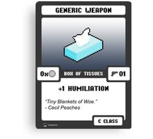 Generic Weapon - Box of Tissues Canvas Print