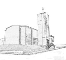 St Matthew's church sketch by Colin Bentham