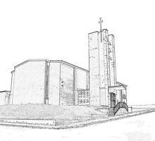St Matthew's church sketch by Colin Bentham