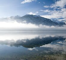 mist burning off Lake Bohinj by Ian Middleton