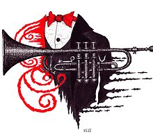 Passion of Trumpet surreal black and white and red pen ink drawing by Vitaliy Gonikman