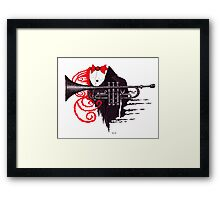 Passion of Trumpet surreal black and white and red pen ink drawing Framed Print