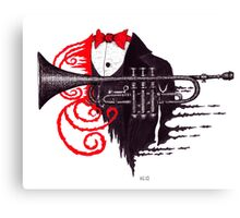 Passion of Trumpet surreal black and white and red pen ink drawing Canvas Print