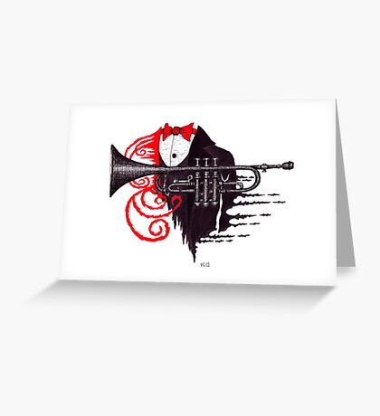 Passion of Trumpet surreal black and white and red pen ink drawing Greeting Card