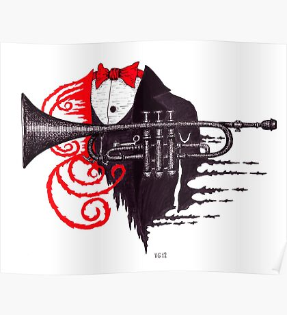 Passion of Trumpet surreal black and white and red pen ink drawing Poster