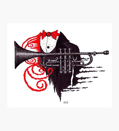 Passion of Trumpet surreal black and white and red pen ink drawing Photographic Print