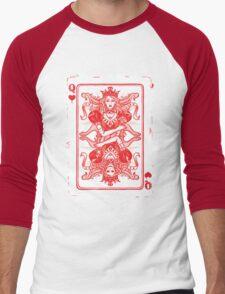 QUEEN OF HEARTS, poker card. Men's Baseball ¾ T-Shirt