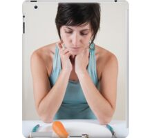 female model in her 20s with a carrot and vitamin pills  iPad Case/Skin