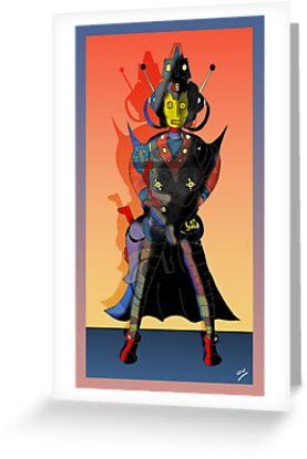 Cyberman Future Cop Cartoon Dark version by Grant Wilson