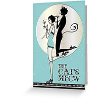 Gatsby Girl Flapper The Cat's Meow (blue and silver) Greeting Card