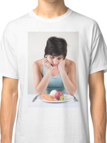 depressed female model with a plate of vegetables Classic T-Shirt