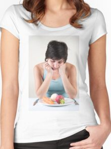 depressed female model with a plate of vegetables Women's Fitted Scoop T-Shirt
