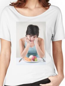 depressed female model with a plate of vegetables Women's Relaxed Fit T-Shirt