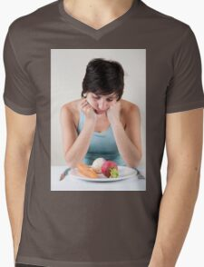 depressed female model with a plate of vegetables Mens V-Neck T-Shirt