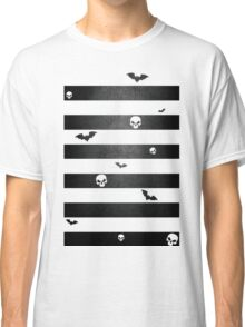 Halloween Stripes with Skulls and Bats Classic T-Shirt