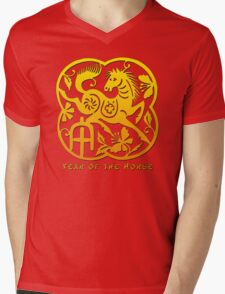 Chinese Year of The Horse Papercut Design Mens V-Neck T-Shirt