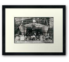 Boat repair. Framed Print