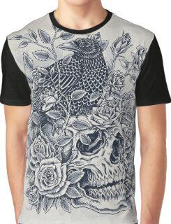 Monochrome Floral Skull Graphic T-Shirt