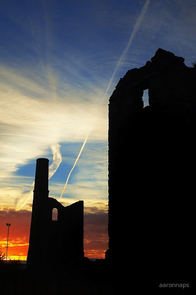 Cornish engine houses at sunrise by aaronnaps