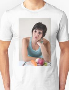 epressed female model in her 20s with a plate of vegetables T-Shirt