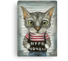 Mugshot of a cat felon arrested while attempting a bank heist Canvas Print