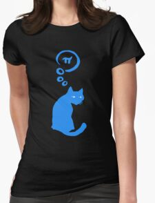 Cat thinking about Pi Womens Fitted T-Shirt