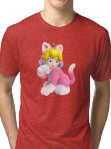 Cat Peach Tri-blend T-Shirt