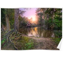 Old Mill & Lake Sunset Poster
