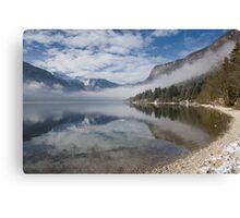 mist burning off Lake Bohinj Canvas Print