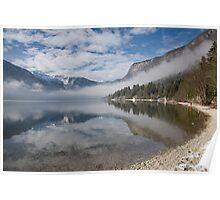 mist burning off Lake Bohinj Poster