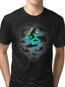 Screwed | Funny Shark and Diver Illustration Tri-blend T-Shirt