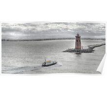 Waves off -Poolbeg Light house Poster