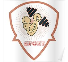 inflated hand with dumbbells. sports Poster
