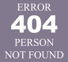 404 Error Person Not Found Kids Tee