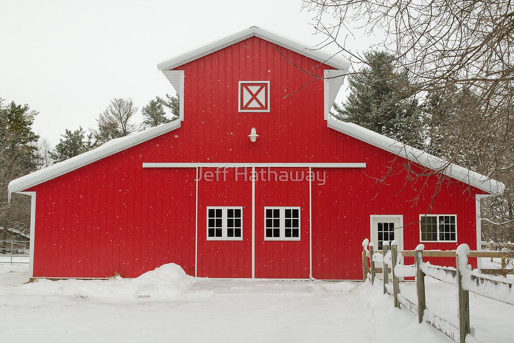 Red Barn in Winter by Jeff Hathaway