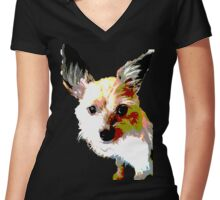 Terrier dog logo Women's Fitted V-Neck T-Shirt