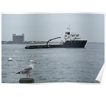 Onlooker to a travelling Fishing Vessel @ Boston Harbor Poster